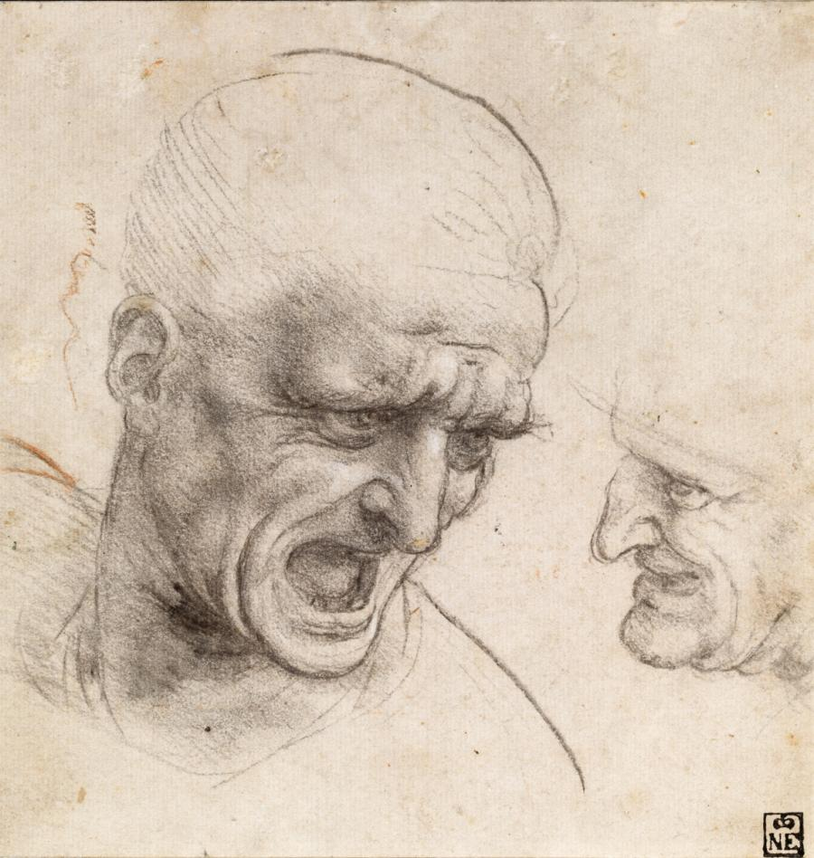 """Леонардо да Винчи, Етюд на глава към фреската """"Битката при Ангиари"""""""